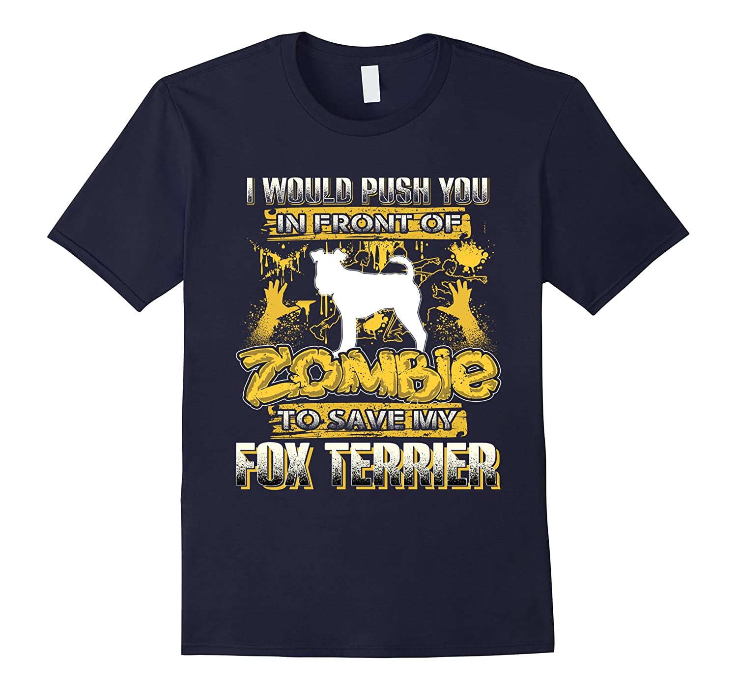 My Fox Terrier And Zombie Funny Tshirt-TH