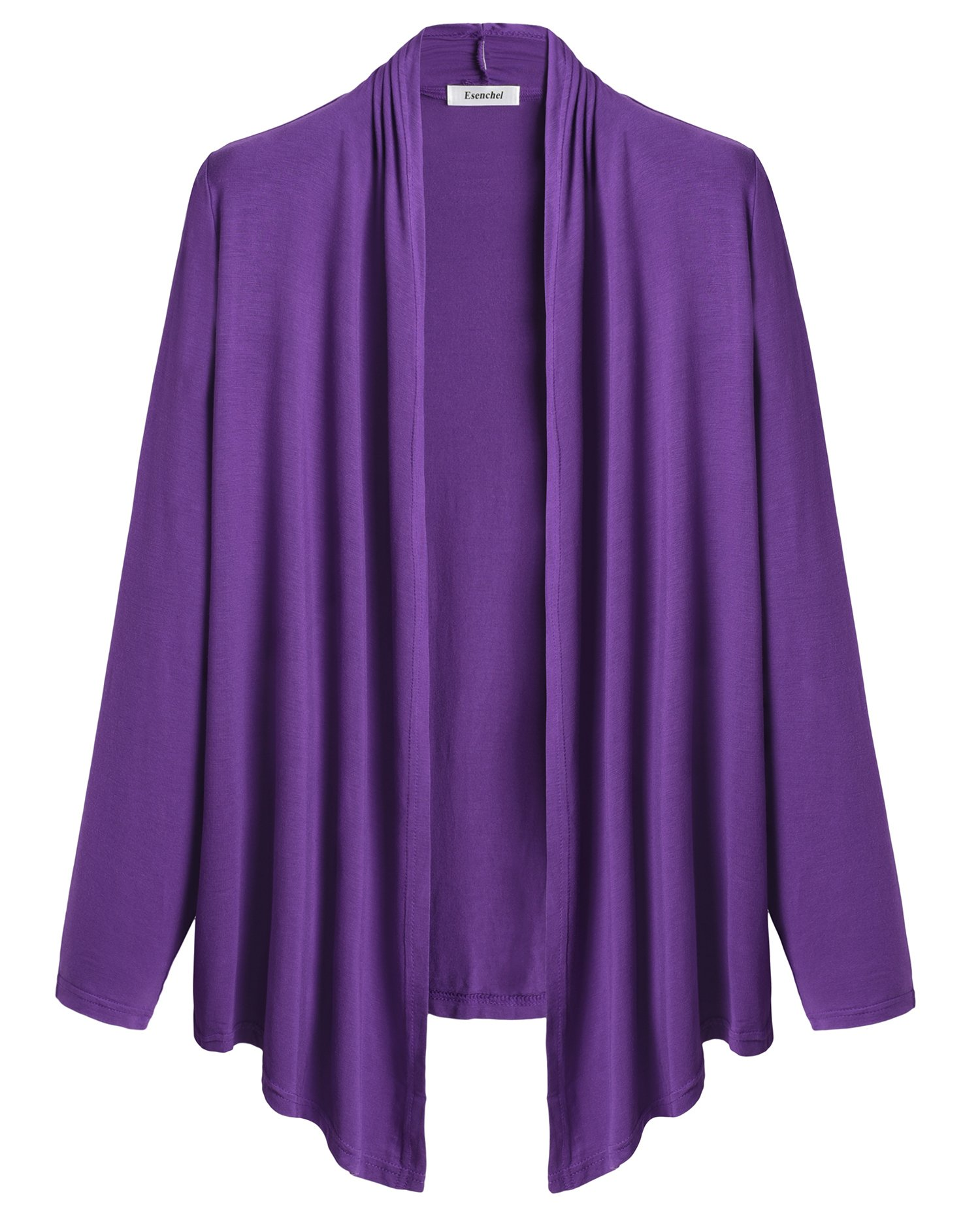 Esenchel Women's Lightweight Open Front Cardigan 3X Purple