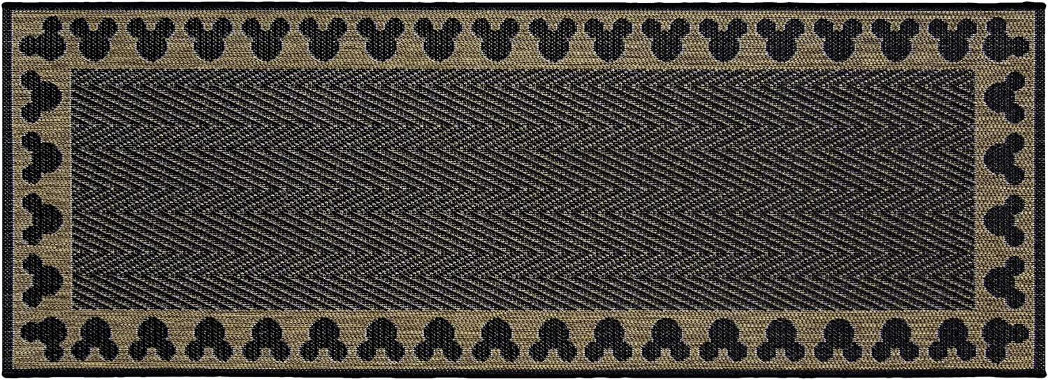 Gertmenian 31308 Disney Outdoor Rug Patio Mickey Mouse Outside Carpet, 2x6 Runner, Gold Border Brown