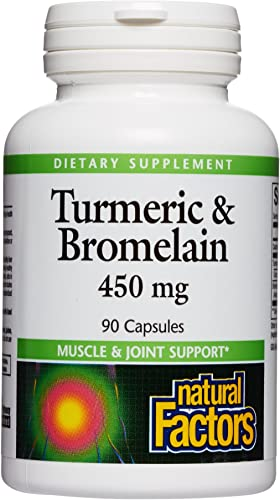 Natural Factors, Turmeric Bromelain 450 mg, Supports Healthy Digestion, Liver, Muscle and Joint Function, 90 capsules 90 servings