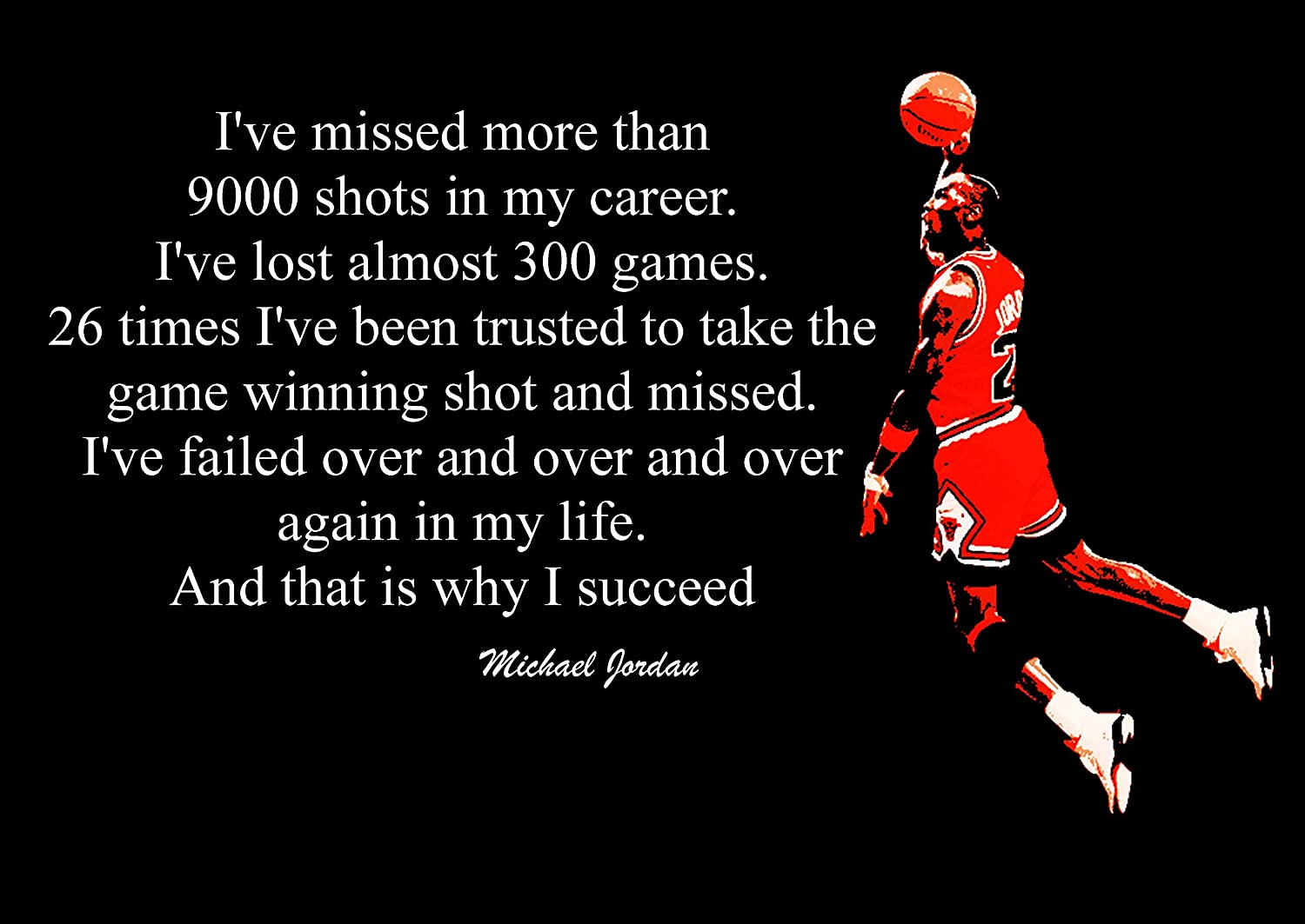 2 PICTURE INSPIRATIONAL MICHAEL JORDAN BASKETBALL QUOTE POSTER PRINT