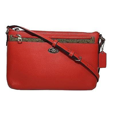 ede87fc7a53fa6 Coach Women's Crossgrain Leather East/west POP Crossbody, Orange, One Size:  Handbags: Amazon.com