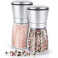 KRONENKRAFT Salz und Pfeffer mühle Set Salz Pfeffermühle Salzmühle aus Glas-Körper mit verstellbarem Keramikmahlwerk Edelstahl Gewürzmühle für Gewürze, Pfeffer, Salz und Chilli