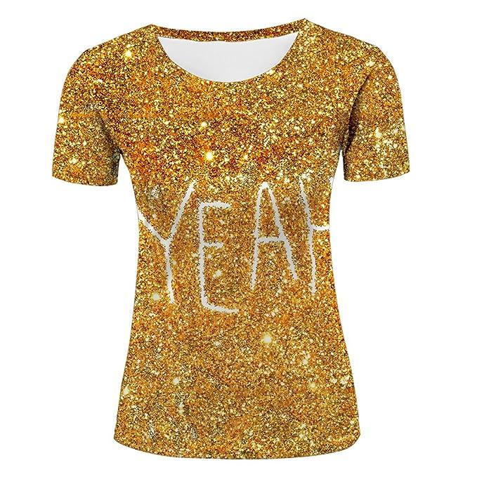 ce6e457cf23c87 LIYOUYUAN Women s Novelty T-Shirt 3D Print Golden Glitter Sparkle Luxury  Graphic All Over Casual