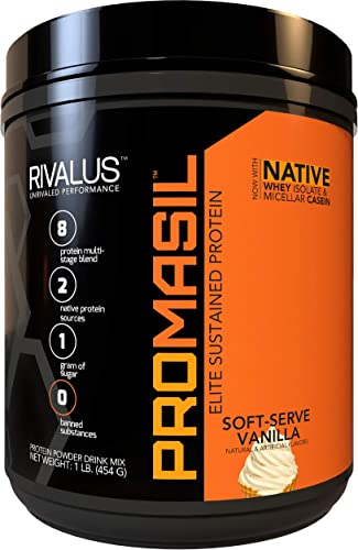 Rivalus Promasil Soft Serve Vanilla, 1lb – 8-Source Protein Blend Including Native Whey Isolate, Native Micellar Casein, Egg, Sustained Delivery, Clean Nutrition Profile, No Banned Substances