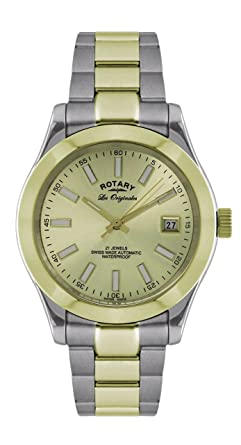 gents men s two tone stainless steel automatic rotary watch on gents men s two tone stainless steel automatic rotary watch on bracelet gold coloured dial