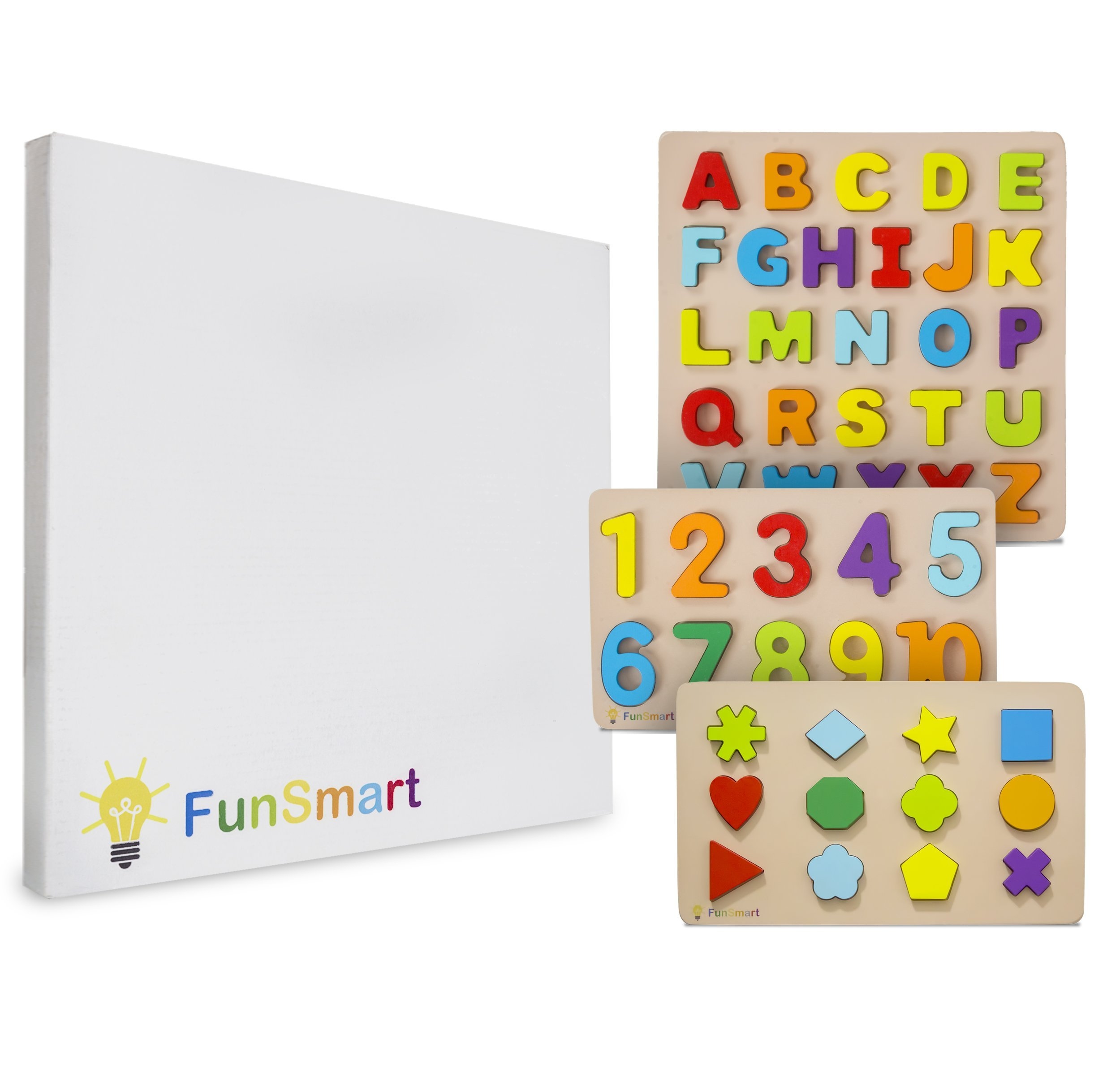 FUNSMART 3-Pack Wooden Puzzles for Kids | Sensory Toys and Colorful Blocks for Toddler Learning Alphabet, Numbers and Shapes | Best Educational Gifts for Preschool Boys and Girls Ages 3-6 Years Old by FUNSMART