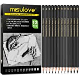 MISULOVE Professional Drawing Sketching Pencil Set - 12 Pieces Art Drawing Graphite Pencils(12B - 4H), Ideal for Drawing Art, Sketching, Shading, for Beginners & Pro Artists