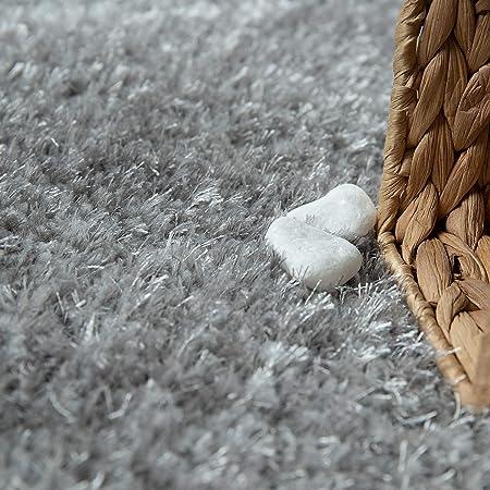 Alfombra De Pelo Largo Suave Mullida Duradera Resistente tama/ño:60x100 cm Color:Antracita Shaggy para Sal/ón