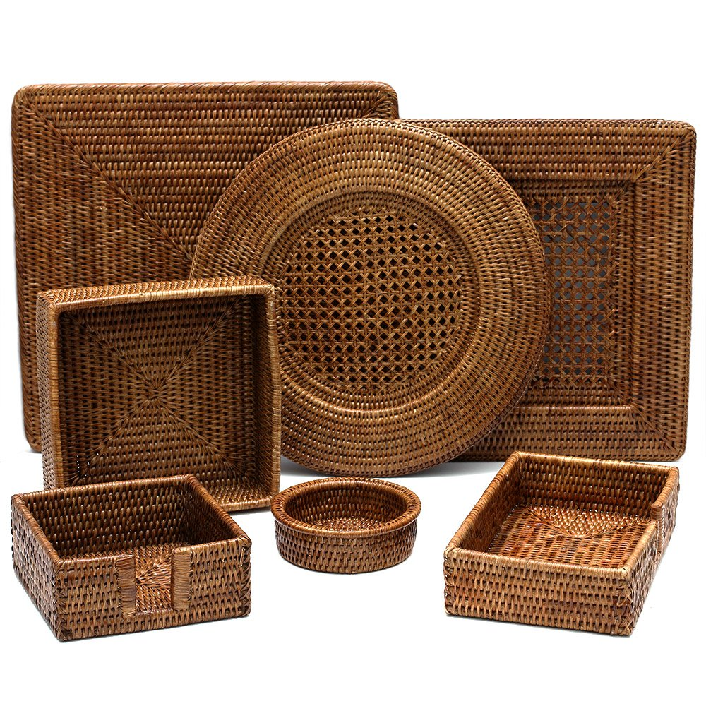 Entertaining with Caspari Rattan Cocktail Napkin Holder (HC01) by Caspari