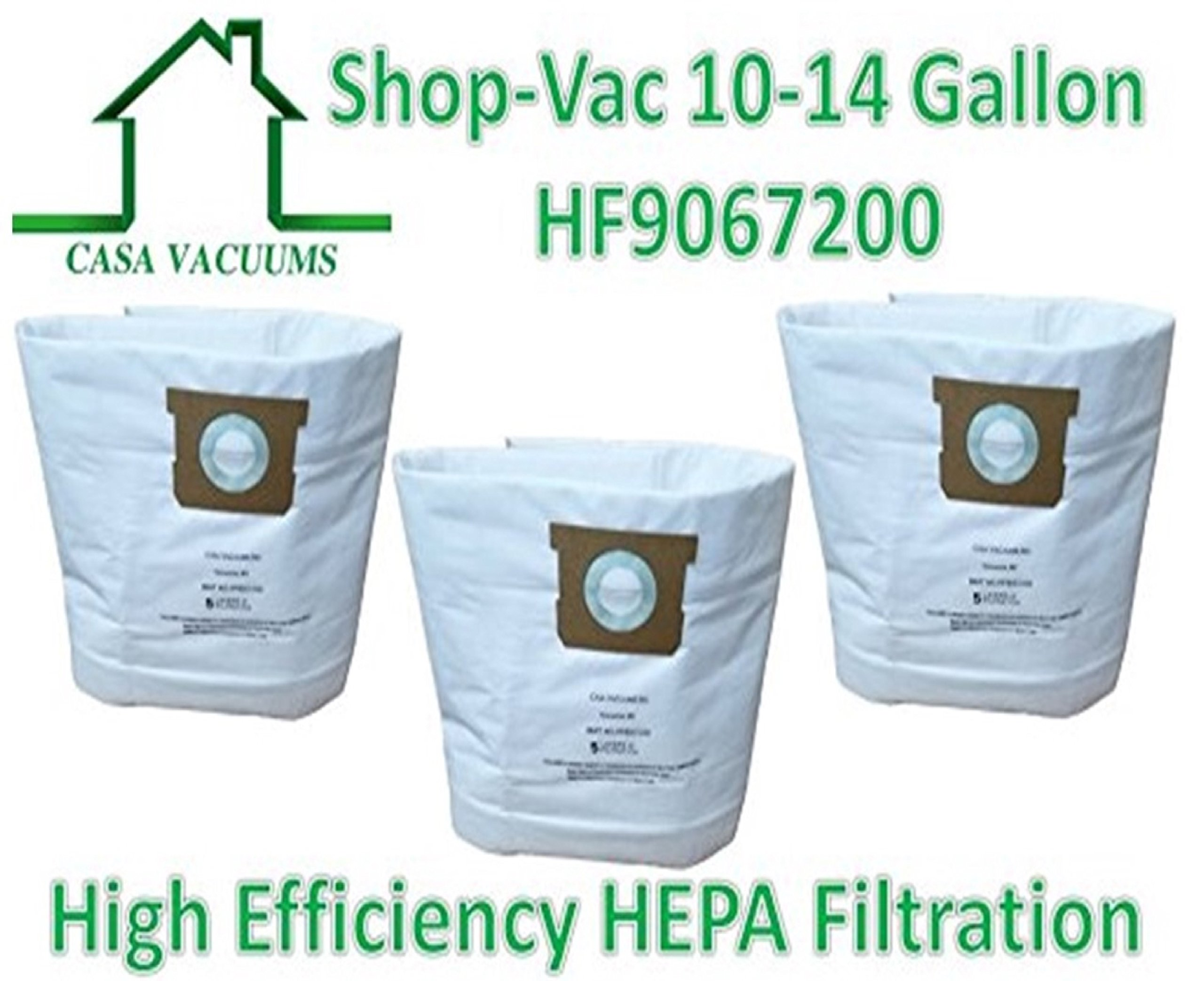 CASA VACUUMS replacement for Shop-Vac 9067200 10-14 Gallon Type I + Type F compatible High Efficiency Disposable HEPA FILTRATION Collection Bag, 3-Pack by Casa Vacuums