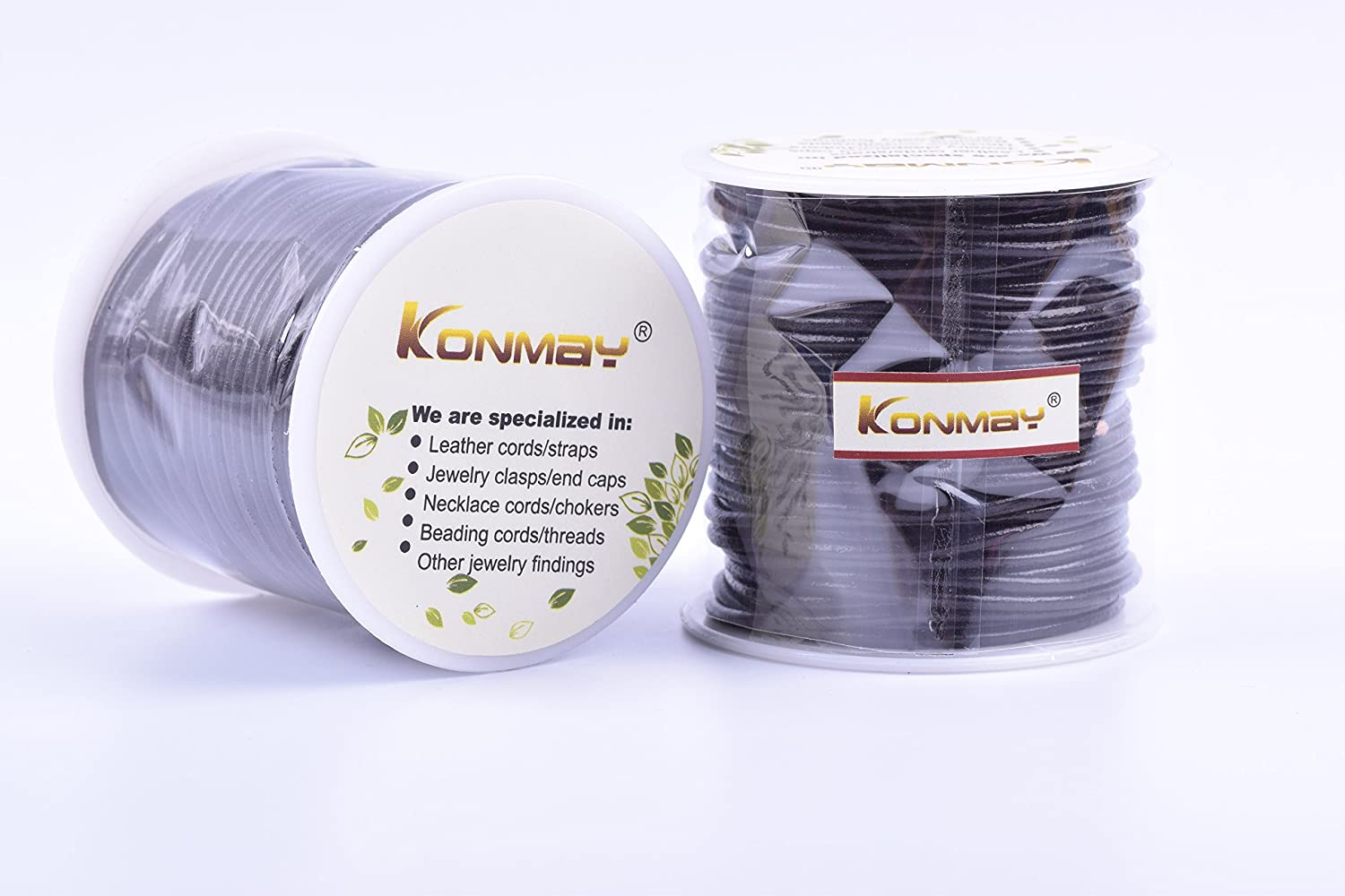 1.5mm, Black KONMAY 25 Yards Solid Round 1.5mm Black Genuine//Real Leather Cord Braiding String