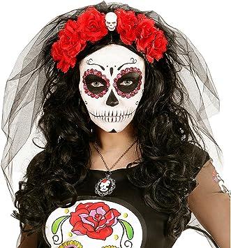 Tag der Toten Haarreif La Catrina Haarschmuck Schleier Totenkopf Halloween Rosen