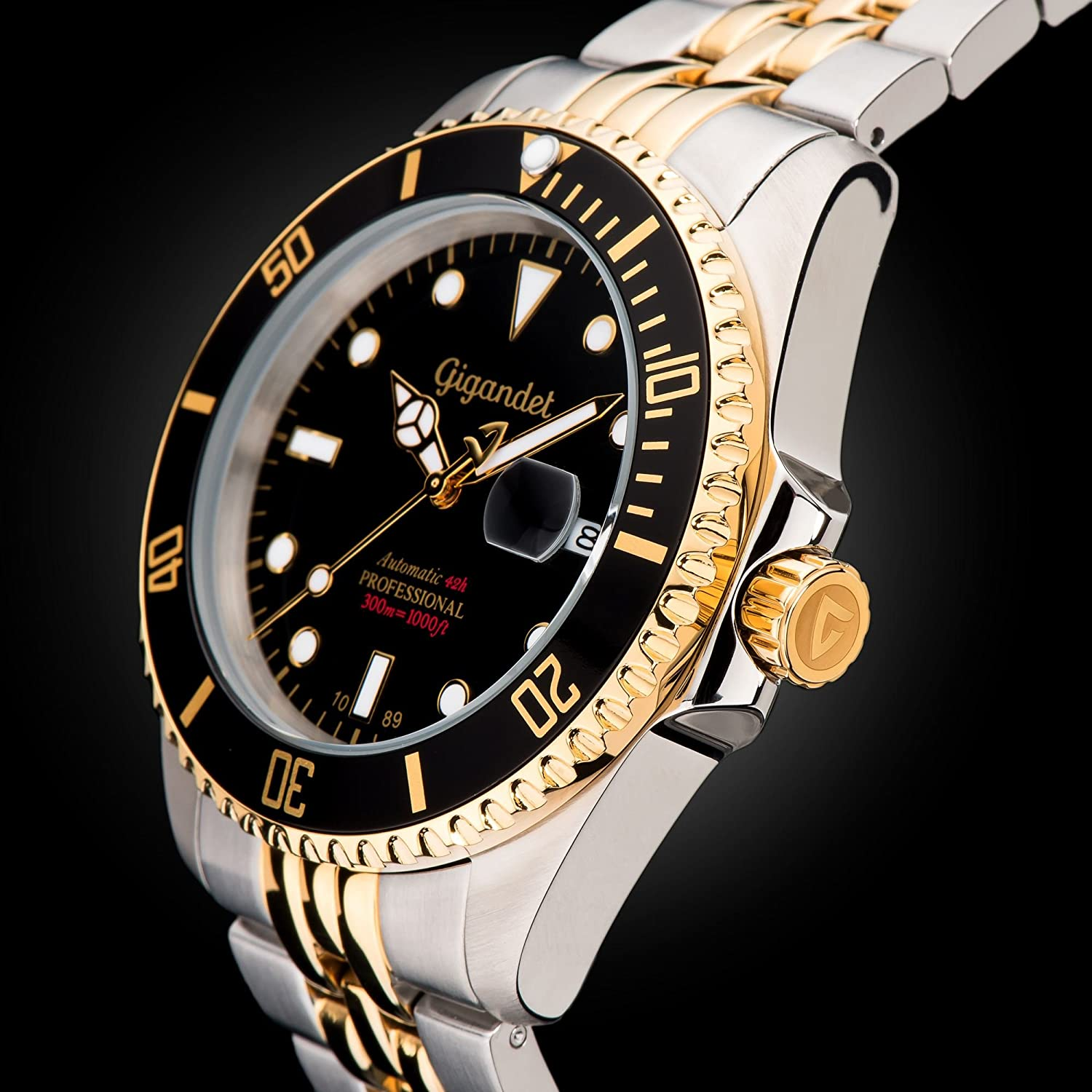 Gigandet Men s Automatic Pro Diver Watch Sea Ground Analog Stainless Steel 30atm Two-Tone Black Gold G2-016