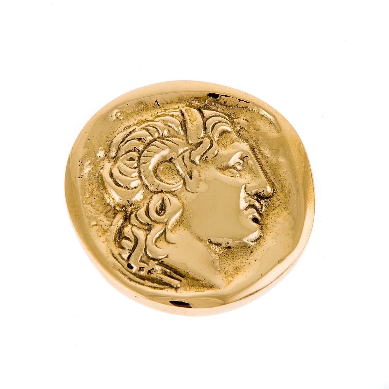 Elegante, metallo, in bronzo massiccio Office–scrivania, fermacarte (presse Papier) fatto a mano, Alexander The Great design. Ø 7.5cm/7,4cm Elitecrafters