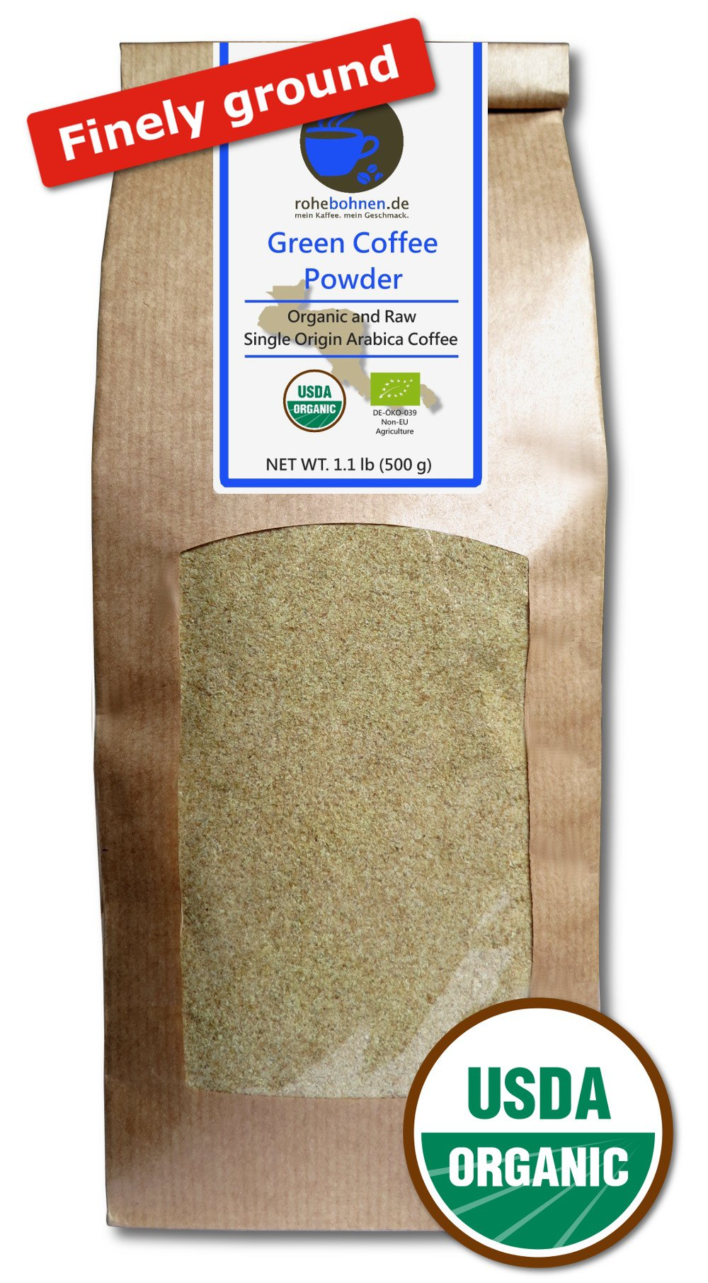 Green Coffee Powder organic, 100% pure and natural (finely ground, 500g) by Rohebohnen