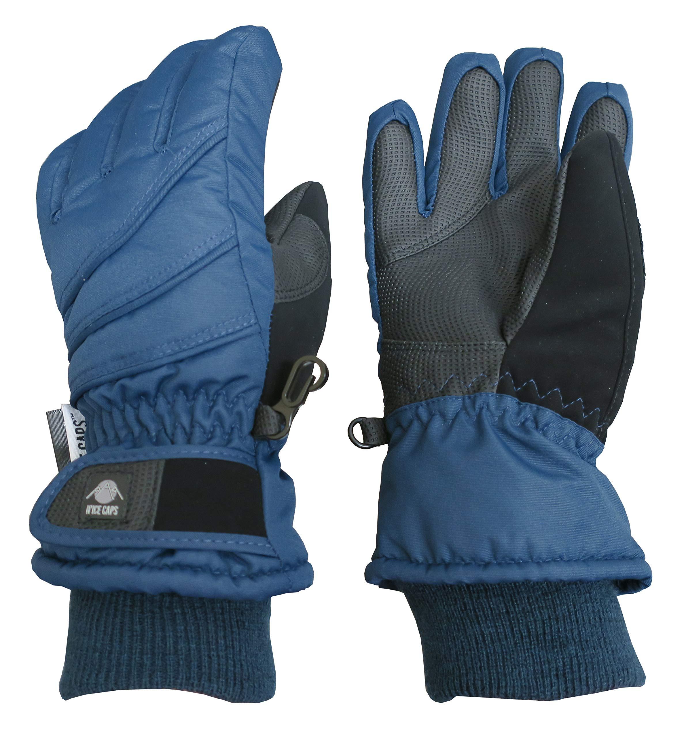 N'Ice Caps Kids Bulky Thinsulate Waterproof Winter Snow Ski Glove With Ridges (Navy, 3-4yrs)