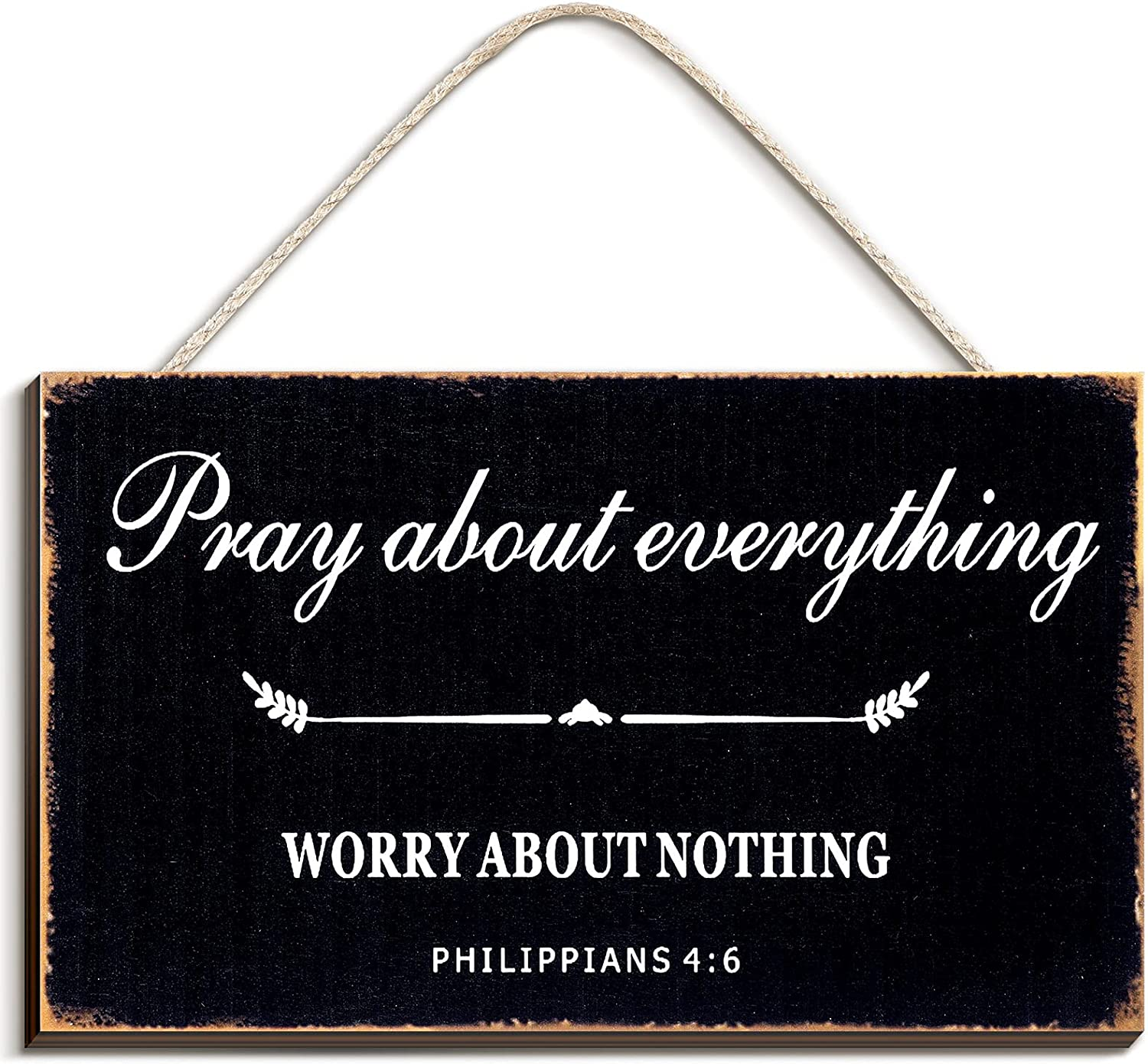 Bible Verse Wood Sign Farmhouse Style Wall Decor Pray About Everything Worry About Nothing Wood Wall Sign, 9.5 x 5.5 Inch (Black)
