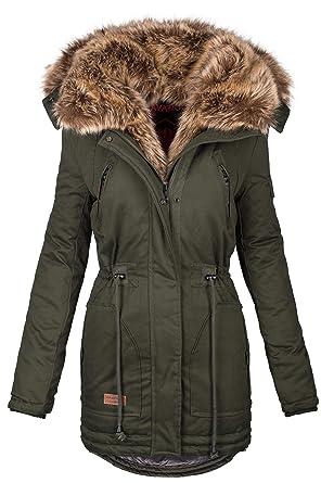 size 40 03b4b 21d0e Navahoo warme Damen Winter Jacke Parka lang Mantel Winterjacke Fell Kragen  B380