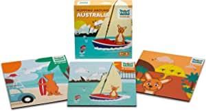 Mizzie Puzzle Box Set, 3 Puzzles in 1, Baby Puzzles, Toddler Puzzles, Hopping Around Australia, Australian Landmarks, Teach Patience, fine Motor Skills, Educational Toys