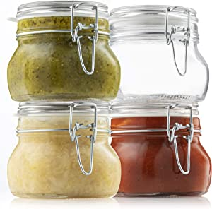 Bormioli Rocco Glass Fido Jars - 17 Ounce hermetic Sealed hinged Airtight lid for Fermenting, Pantry, Kitchen Storage Jars, Bulk Food Storage Containers, With Paksh Chalkboard Labels (4 Pack)