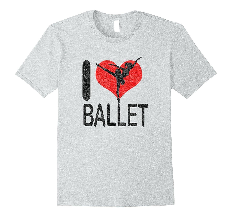 Distressed I Love Ballet Ballerina T-Shirt-CD