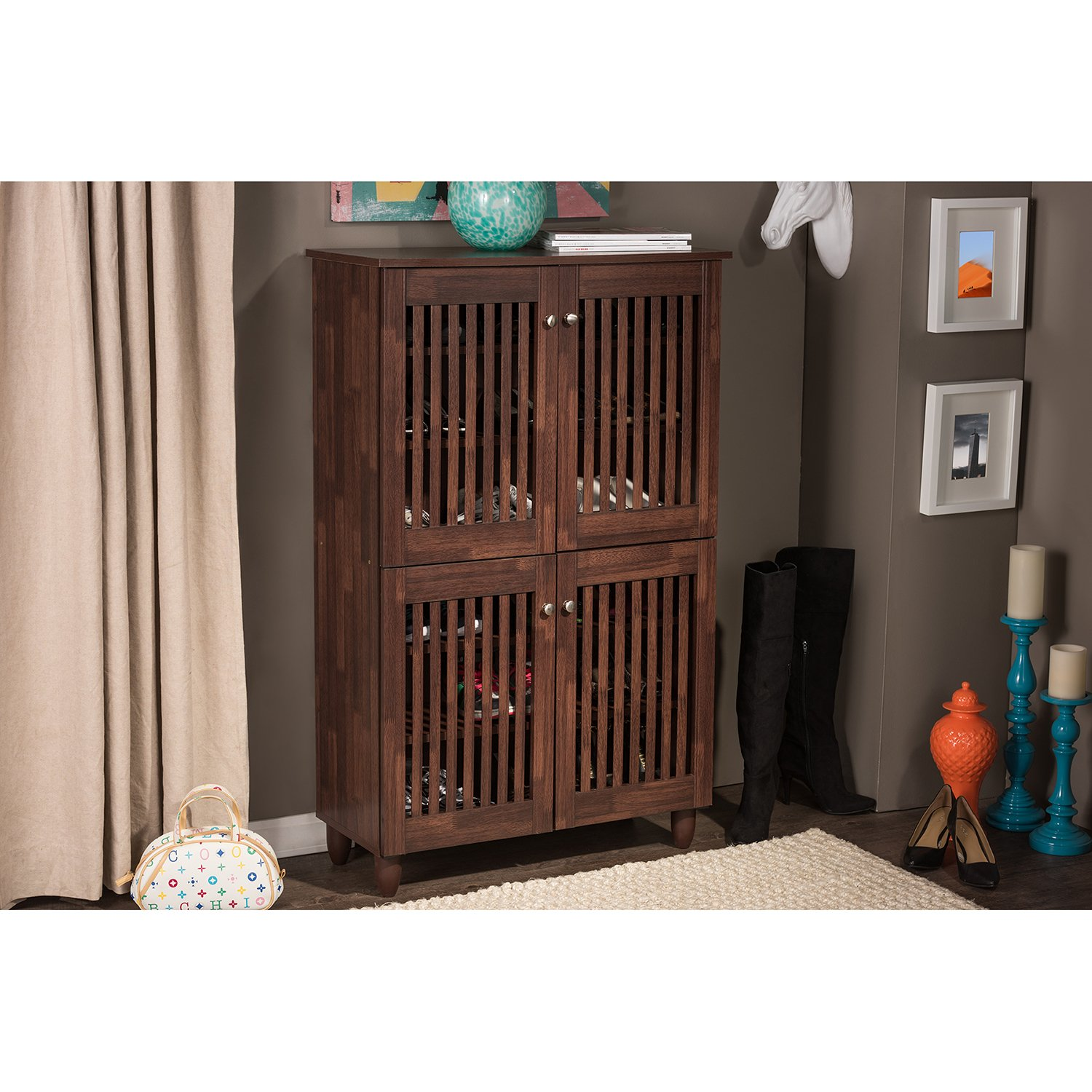 Amazon.com: Wholesale Interiors Baxton Studio Fernanda Modern And  Contemporary 4 Door Oak Brown Wooden Entryway Shoes Storage Tall Cabinet:  Kitchen U0026 Dining