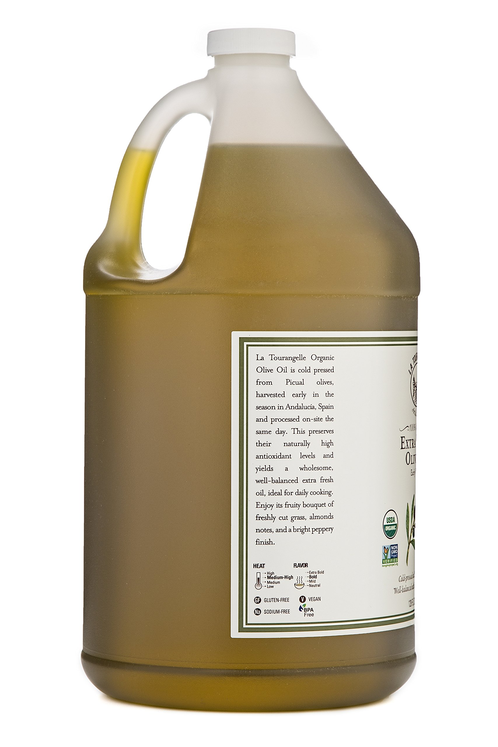 La Tourangelle Organic Extra Virgin Olive Oil 128 Fl. Oz., Organic Cold-Pressed Extra Virgin Olive Oil, All-Natural, Artisanal, Great for Cooking, Sauteing, and Dressing by La Tourangelle (Image #3)
