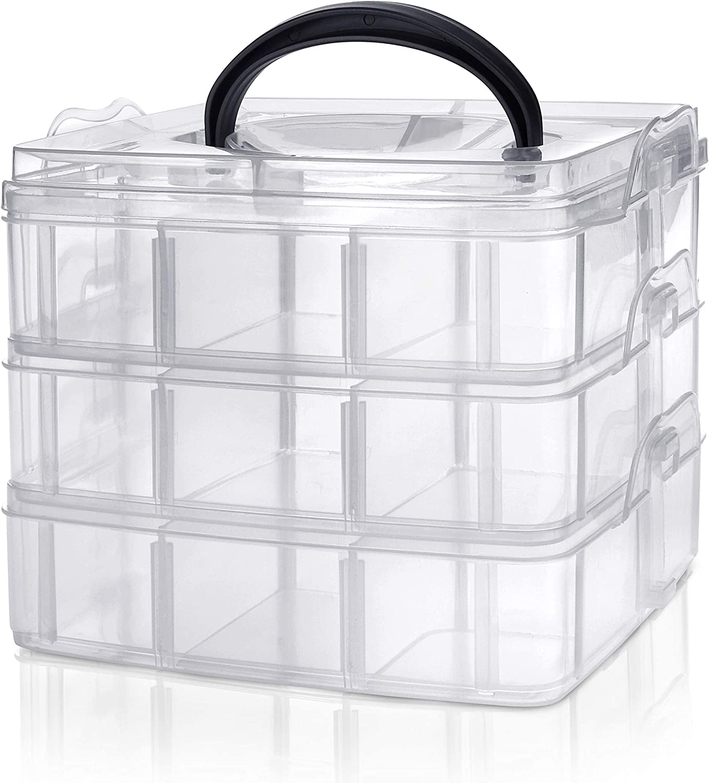 Kurtzy Caja Almacenamiento Plastico 3 Niveles – Ranuras de Compartimentos Ajustables - Caja Organizadora Plastico Transparente – Máximo 18 Compartimentos – Almacenar Joyas, Cuentas, Manualidades