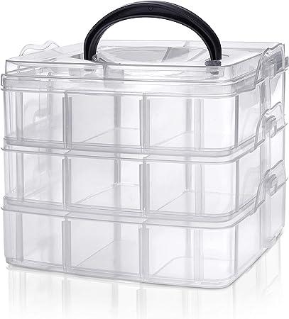 Kurtzy Caja Almacenamiento Plastico 3 Niveles – Ranuras de ...
