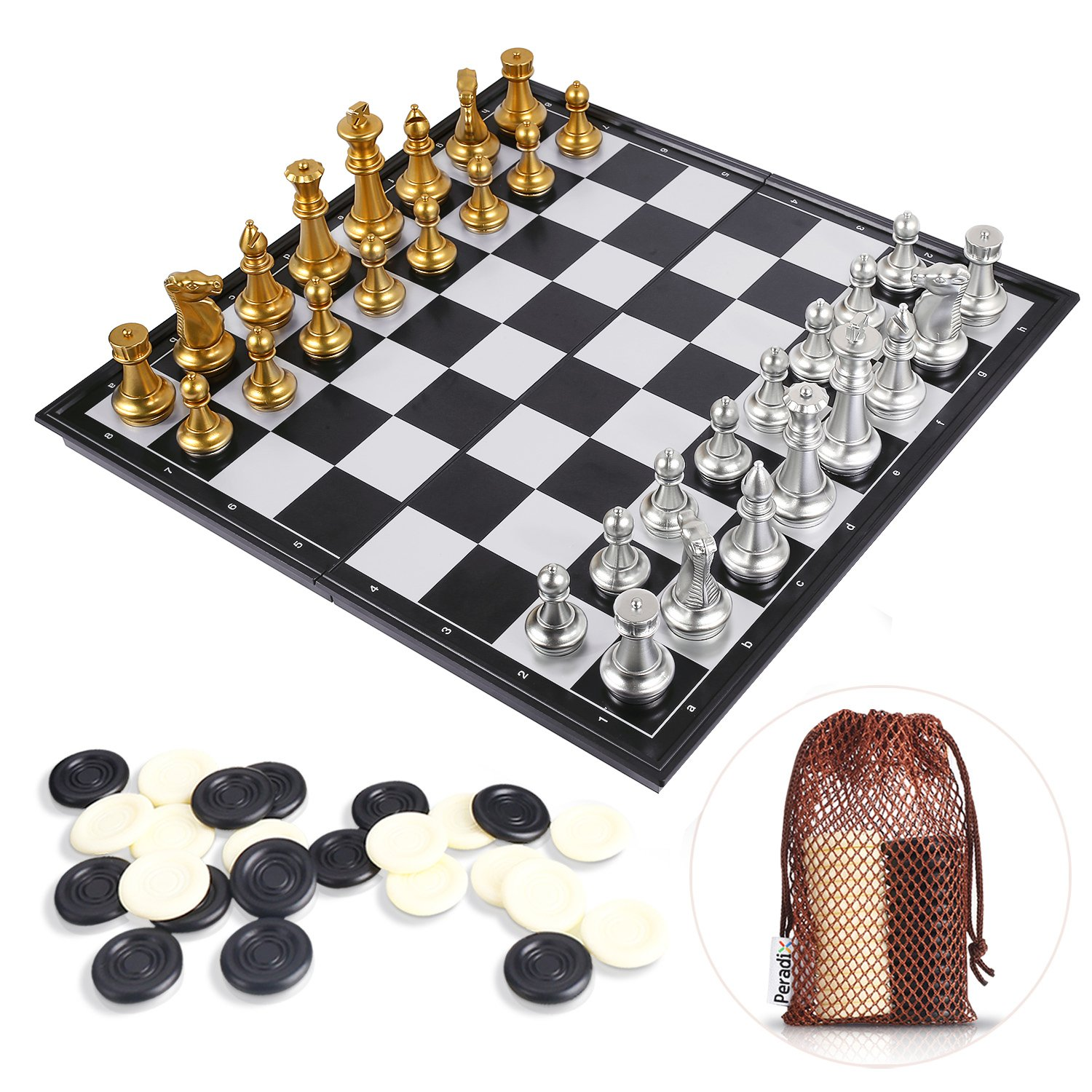 Peradix Magnetic Chess Checkers Set, Portable Golden & Silver Folding Chess Board Game, 14'' Perfect Educational Learning Toys for Chess Club, Travel Sized Storage Bags for Kids and Adults