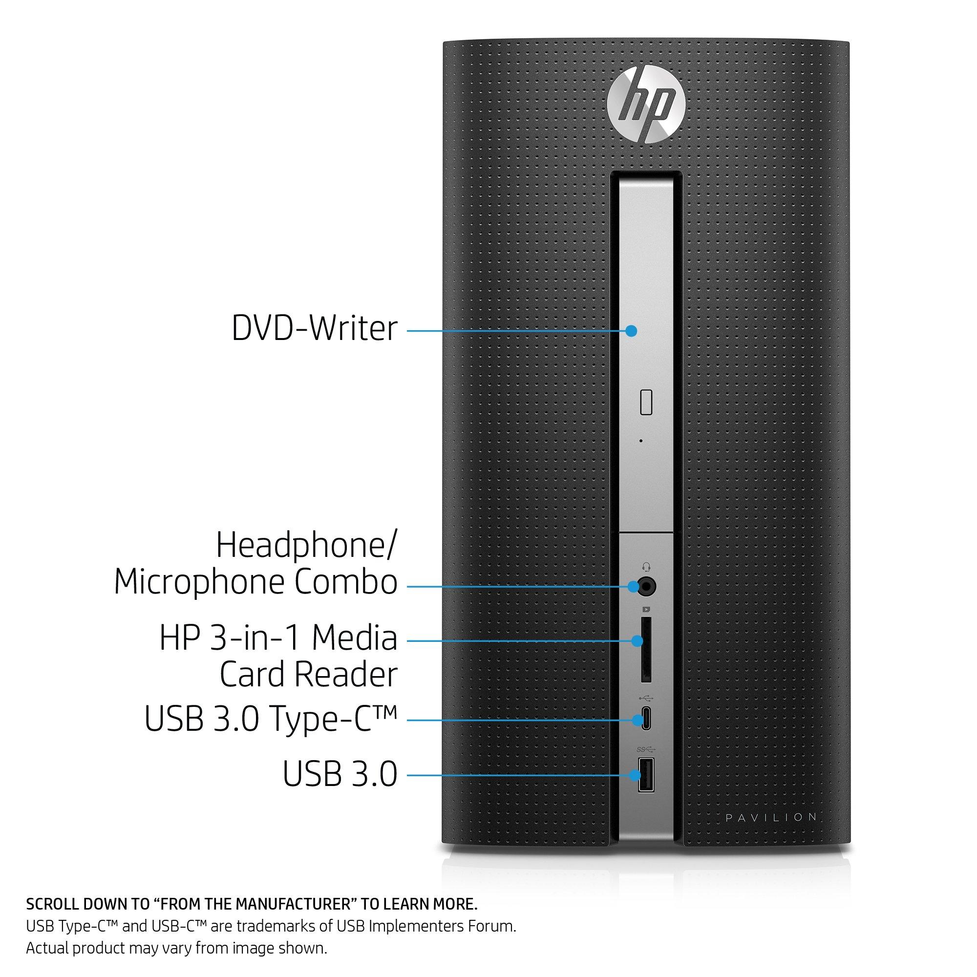 HP Pavilion Desktop Computer, Intel Core i7-7700, 12GB RAM, 1TB hard drive, Windows 10 (570-p030, Black) by HP (Image #1)