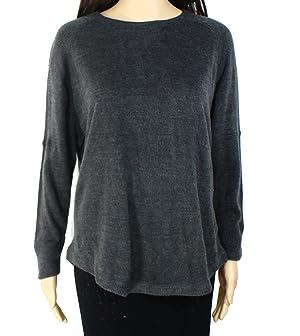 Sweet Romeo Womens Large Ribbed Knit Crewneck Sweater Gray L