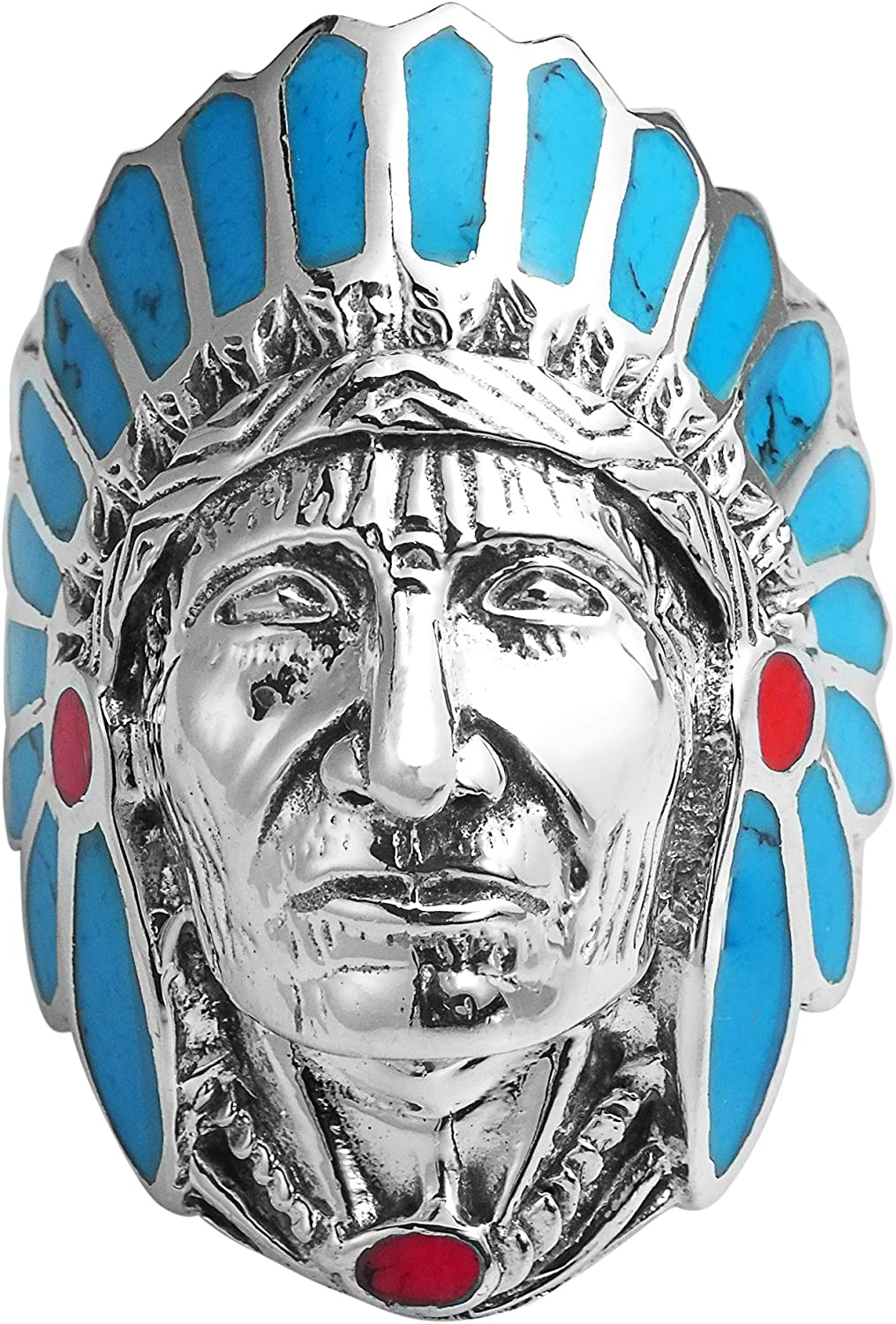 AeraVida Simulated Turquoise & Reconstructed Red Coral Accented Native American Style .925 Sterling Silver Ring