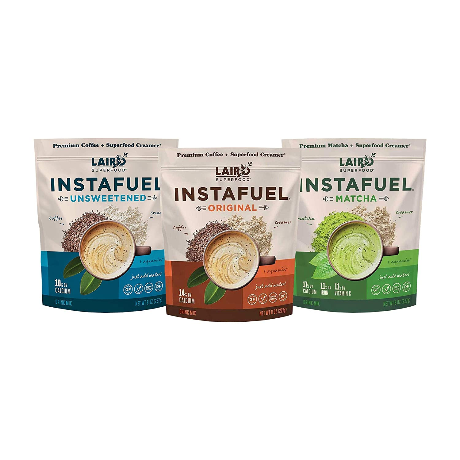 Laird Superfood Instafuel Sampler Pack - Instant Coffee Premixed with Our Superfood Non-Dairy Creamer, Flavor Bundle Includes Original, Unsweetened and Matcha (3 PK)