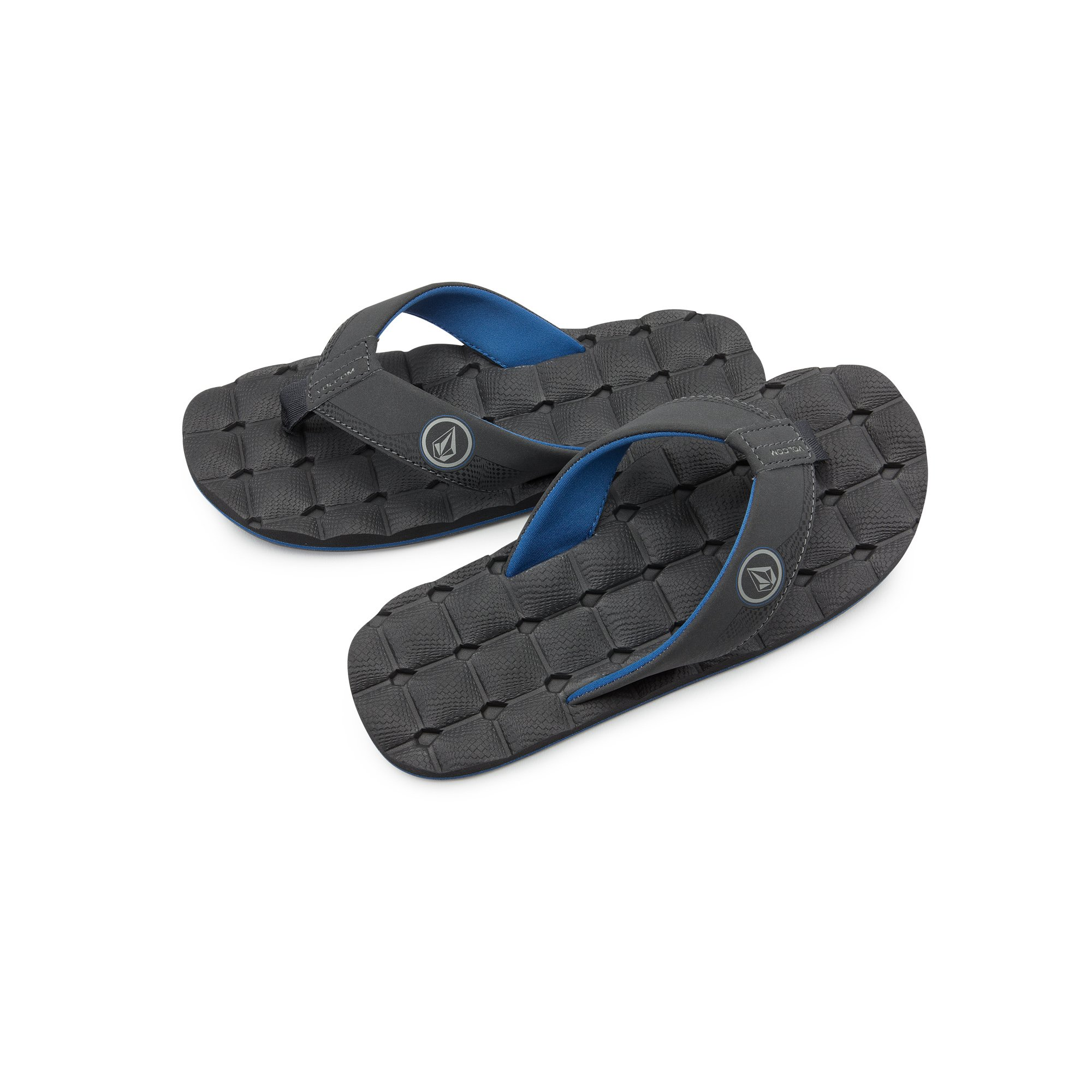 Volcom Boys' Recliner Youth Sandal Flip Flop, Blue Combo, 4 D US Big Kid