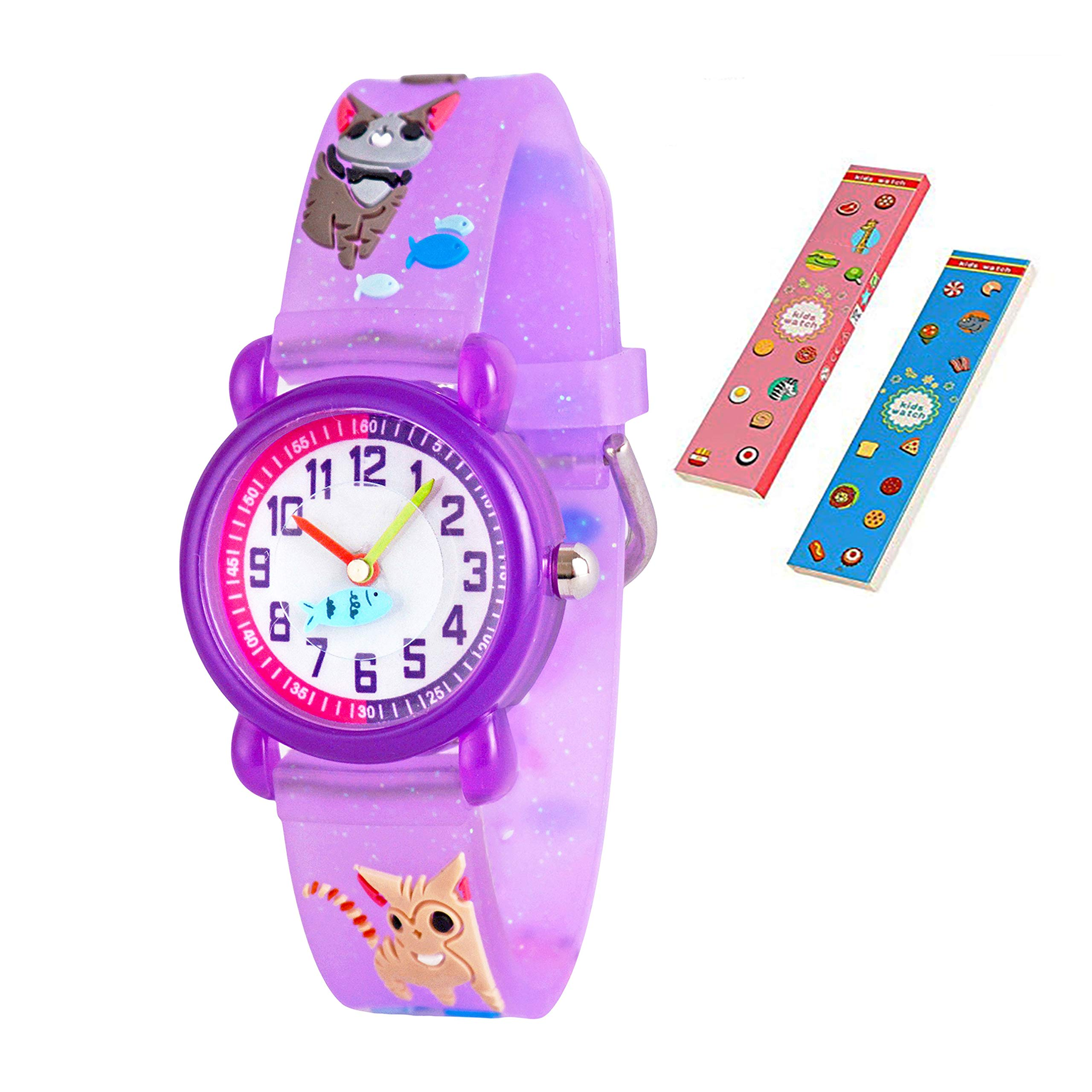 Toddler Kids Children Watch,3D Cute Cartoon Silicone Band Wristwatches Time Teacher Gifts Watches for Kids Girls Toddlers (Purple Cat) by Angels' (Image #1)