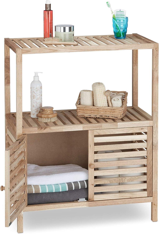 Relaxdays Armoire de salle de bain en bois de noyer avec 2 petites portes et surfaces cuisine nature salle de bain 4 /étages HxlxP: 123 x 68 x 36 cm