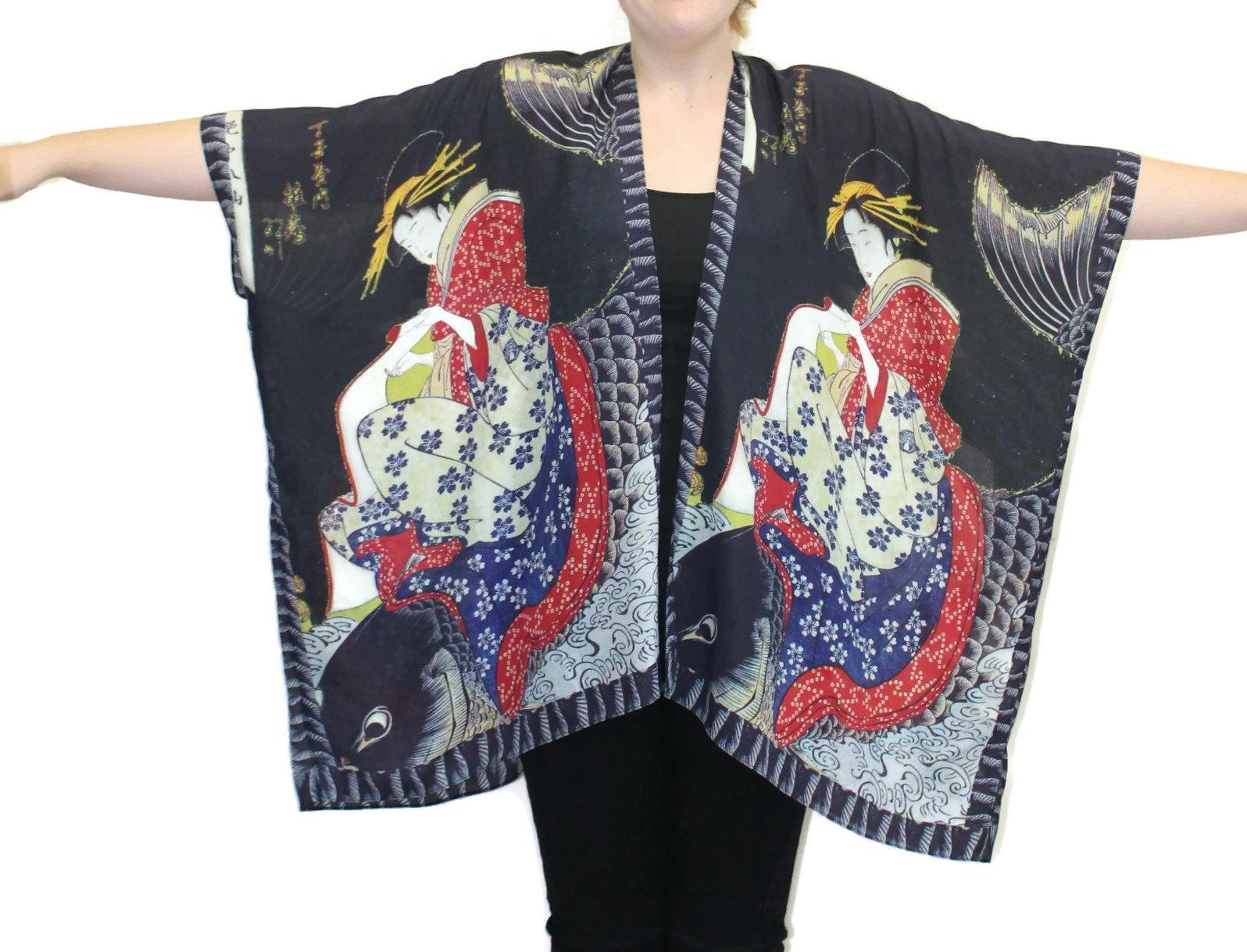 Women's Koi Silk Hand Painted Long Kimono Jacket Oversized One Size Plus (Black) by Cocoon House