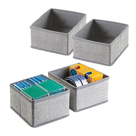 mDesign Juego de 4 cajas organizadoras para oficina - Separadores de cajones de tela para material