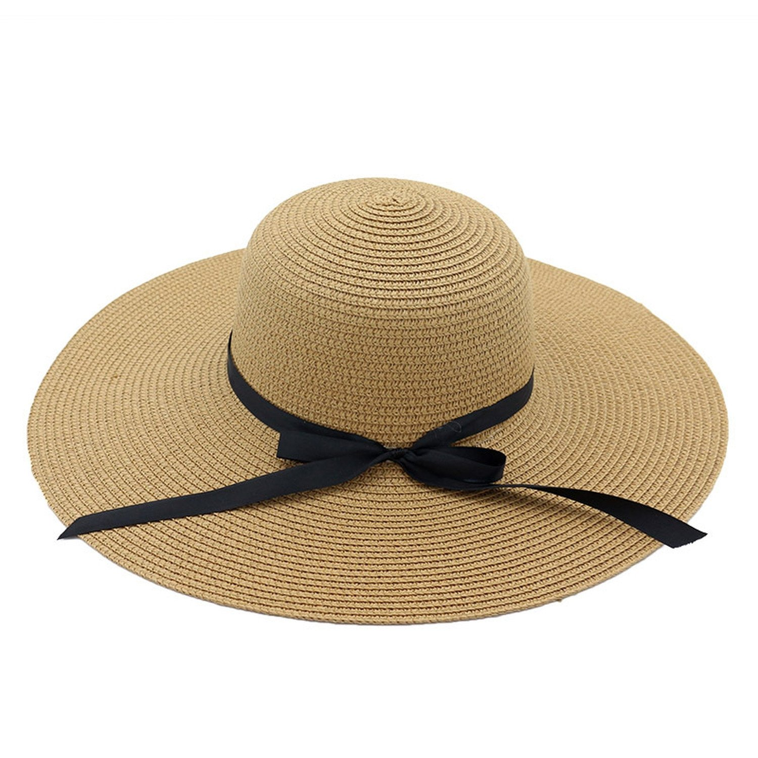 Spring and summer new hat female straw hat seaside holiday beach sun hat big hat bow bow sun hat,Khaki,adjustable by Spring Moon party-hats (Image #1)