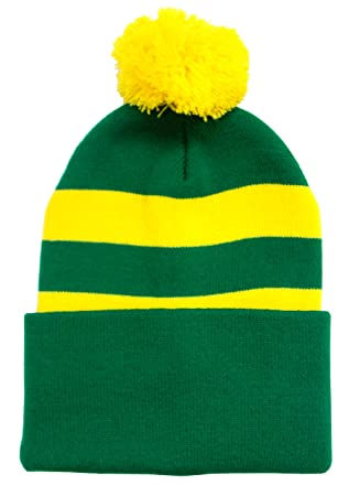 8c3e8685e40 Green and Yellow Retro Style Bobble Hat  Amazon.co.uk  Sports   Outdoors