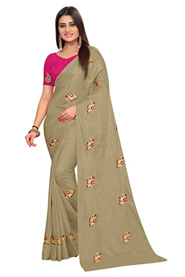 346ed453cb0269 Shailaja Saree Women S Paper Silk Elephant Design Embroidery Work Saree  With Banglori Silk Blouse Piece (
