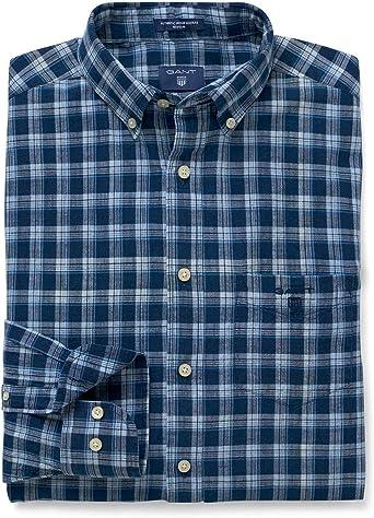 GANT Authentic Indian Madras Shirt Camisa, Azul (Indigo ...