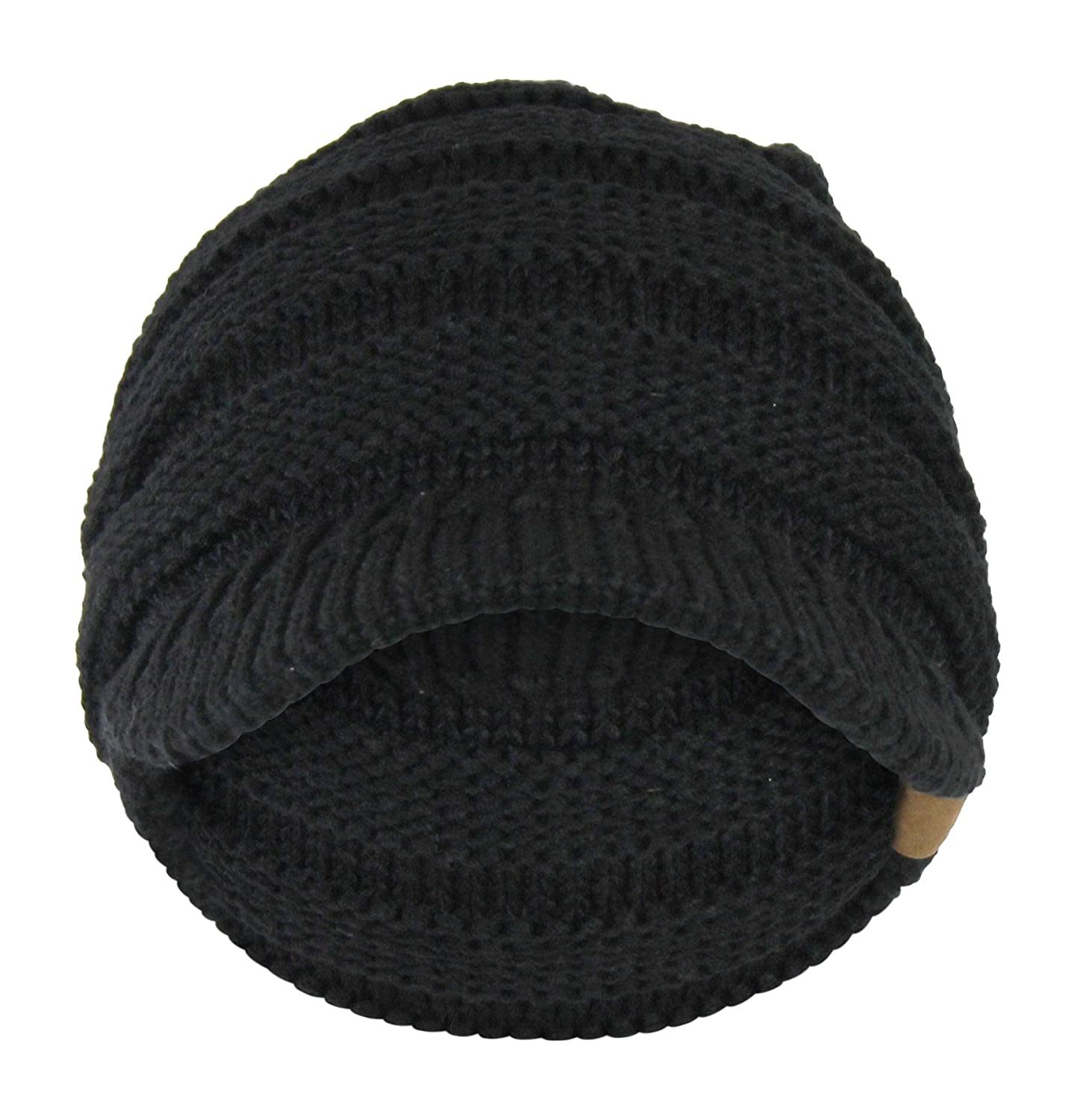 62f4f5e0135 Black Cable Ribbed Knit Beanie Hat w  Visor Brim - Chunky Winter Skully Cap  at Amazon Women s Clothing store