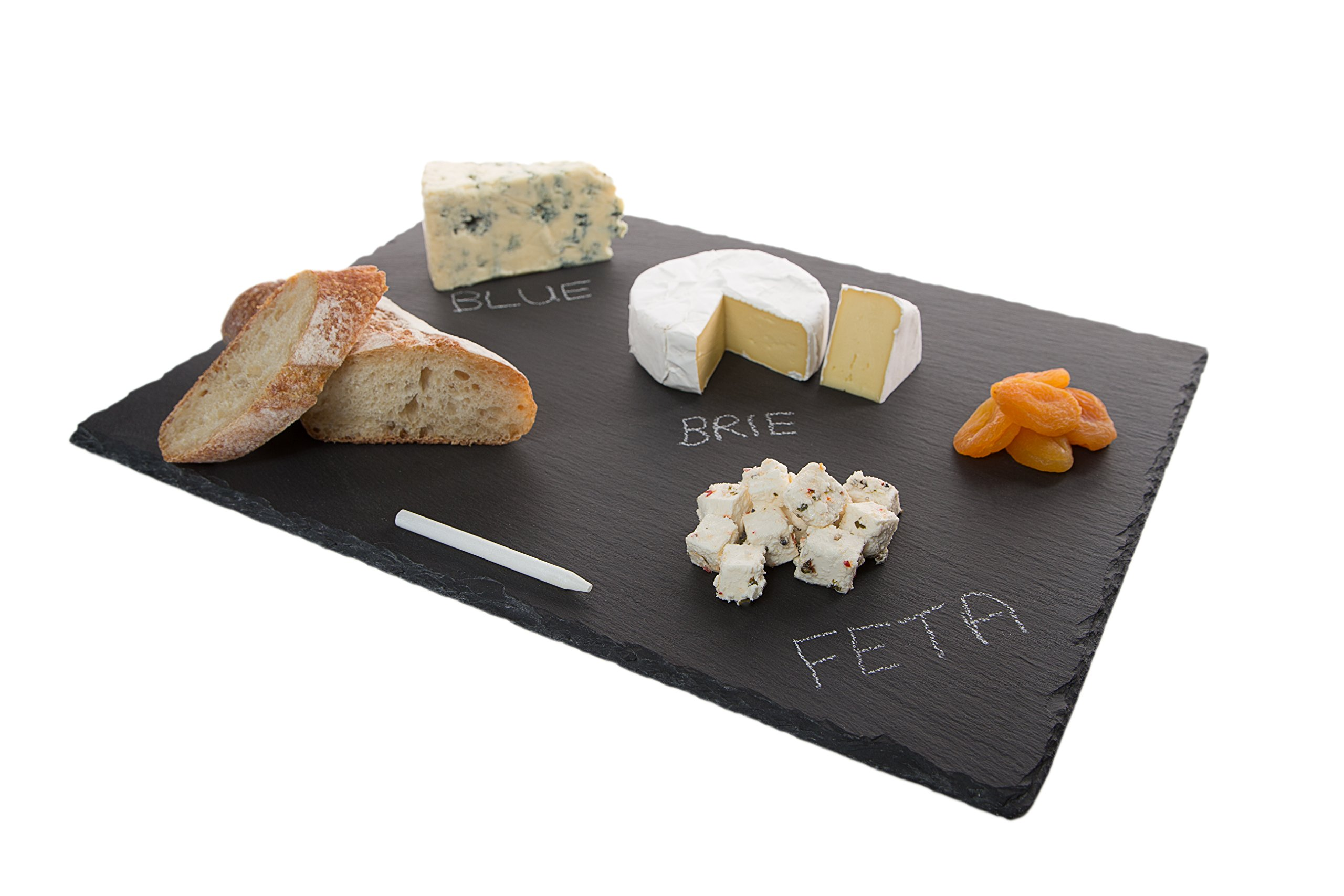 4 Sizes to Choose:  Large Stone Age Slate cheese boards (12''x16'' Serving Platter) with Soap Stone Chalk