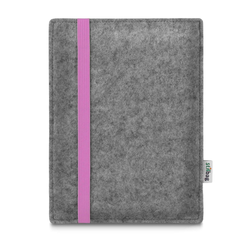Stilbag maß geschneiderte eReader-Hü lle LEON | Farbe: hellgrau-rosa | eBook Reader Tasche aus Filz | e-Reader Schutzhü lle | Tasche Made in Germany