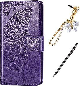 LG Aristo 2 Case,LG K8 2018/LG Aristo 3/Aristo 2 Plus/Fortune 2/Risio 3 Case,Embossing Mandala Butterfly Rose Vine Flip Wallet Case PU Leather Stand Card Slots Case Cover +Dust Plug Stylus,Dark Purple