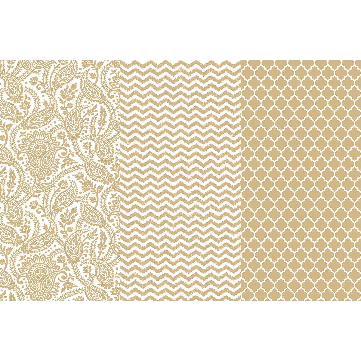 DecoArt Decoupage Paper (3 Pack), 12'' by 16'', Gold Trends