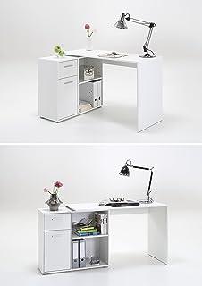 lexa midi corner home office computer desk finished in white baumhaus hampton hidden home office desk